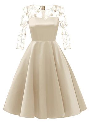 cheap Prom Dresses-A-Line Elegant Minimalist Party Wear Cocktail Party Dress Illusion Neck 3/4 Length Sleeve Short / Mini Satin with Pleats 2020