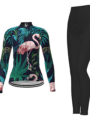 cheap Women's Cycling Jersey & Shorts / Pants Sets-21Grams Women's Long Sleeve Cycling Jersey with Tights Winter Polyester Dark Green Novelty Bike Jersey Tights Clothing Suit Moisture Wicking Quick Dry Breathable Back Pocket Sports Patterned Mountain