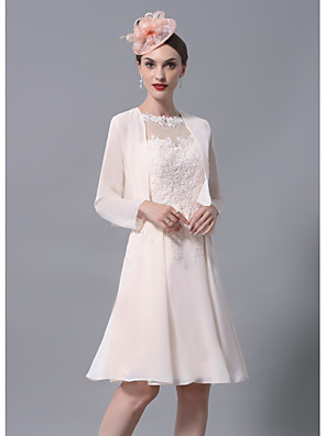 cheap Mother of the Bride Dresses-A-Line Mother of the Bride Dress Wrap Included Jewel Neck Knee Length Chiffon Lace Long Sleeve with Appliques Ruching 2020 Mother of the groom dresses