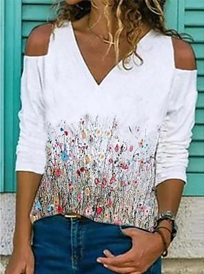 cheap Women's Blouses & Shirts-Women's Blouse Shirt Floral Long Sleeve V Neck Tops Cotton Basic Basic Top White Yellow