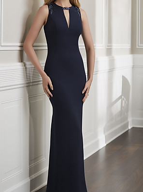 cheap Wedding Dresses-Mermaid / Trumpet Minimalist Sexy Wedding Guest Formal Evening Dress Jewel Neck Sleeveless Floor Length Stretch Satin with Sleek Beading 2020