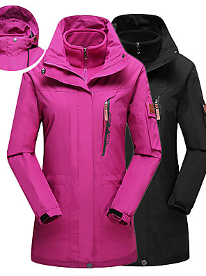 cheap Women's Hiking Jackets-Women's Hoodie Jacket Hiking Jacket Hiking 3-in-1 Jackets Solid Color Winter Outdoor Thermal Warm Windproof UV Resistant Breathable 3-in-1 Jacket Top Black Fuchsia Pink Sky Blue Royal Blue Camping