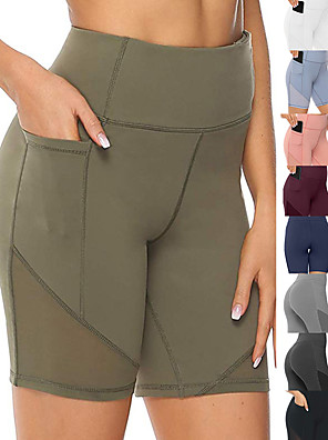 cheap Sports Support & Protective Gear-Women's High Waist Running Tight Shorts Athletic Leggings Bottoms with Phone Pocket Mesh Spandex Yoga Fitness Gym Workout Performance Running Active Training Tummy Control Butt Lift Breathable Sport