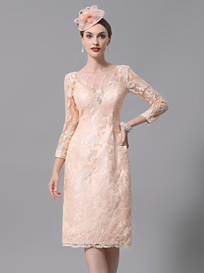 cheap Mother of the Bride Dresses-Sheath / Column Mother of the Bride Dress Sexy Plus Size See Through Bateau Neck Knee Length Lace 3/4 Length Sleeve with Pleats Appliques 2020 Mother of the groom dresses