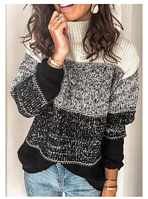Χαμηλού Κόστους Μακριά Φορέματα-Γυναικεία Βασικό Ριγέ Πλεκτό Ριγέ Πουλόβερ Ακρυλικές Ίνες Μακρυμάνικο Πουλόβερ ζακέτες Στρογγυλή Ψηλή Λαιμόκοψη Φθινόπωρο Χειμώνας Μαύρο Ρουμπίνι Πράσινο του τριφυλλιού