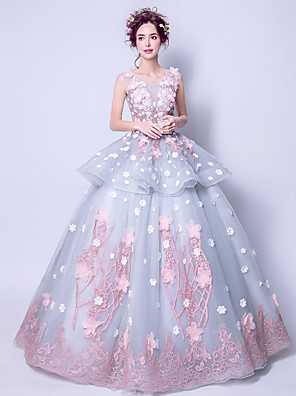 cheap Special Occasion Dresses-Ball Gown Elegant Floral Engagement Formal Evening Dress Jewel Neck Sleeveless Floor Length Tulle with Tier Appliques 2020