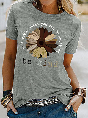 cheap Women's T-shirts-Women's T-shirt Floral Letter Print Round Neck Tops Basic Basic Top White Black Blue