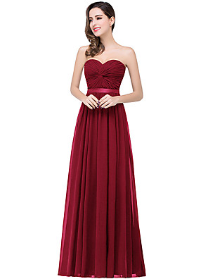 cheap Evening Dresses-A-Line Elegant Minimalist Wedding Guest Formal Evening Dress Strapless Sleeveless Floor Length Chiffon with Pleats 2020