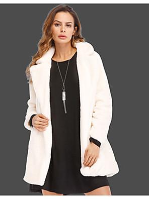 cheap Women's Fur & Faux Fur Coats-Women's Shirt Collar Faux Fur Coat Regular Solid Colored Daily Basic Plus Size White Black Red S M L