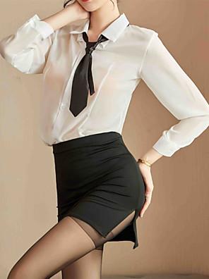 cheap Suits-Women's Lace Mesh Split Matching Bralettes Uniforms & Cheongsams Suits Nightwear Patchwork White S M L