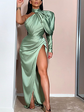 cheap Evening Dresses-Sheath / Column Minimalist Sexy Prom Formal Evening Dress One Shoulder Long Sleeve Floor Length Stretch Satin with Pleats Ruched Split 2020