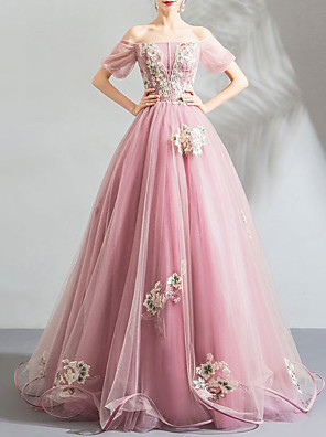 cheap Evening Dresses-Ball Gown Elegant Floral Engagement Formal Evening Dress Off Shoulder Short Sleeve Floor Length Organza Tulle with Pleats Embroidery 2020
