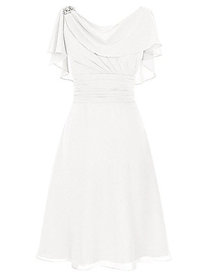 cheap Cocktail Dresses-A-Line Elegant Empire Party Wear Cocktail Party Dress Scoop Neck Short Sleeve Tea Length Chiffon with Ruched Crystals 2020