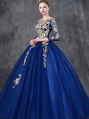 cheap Evening Dresses-Ball Gown Luxurious Vintage Quinceanera Formal Evening Dress Jewel Neck 3/4 Length Sleeve Floor Length Tulle with Lace Insert Embroidery 2020