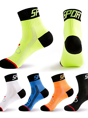 cheap Boys' Tops-Compression Socks Athletic Sports Socks Crew Socks Cycling Socks Men's Football / Soccer Cycling / Bike Bike / Cycling Breathable Wearable 1 Pair Winter Solid Color Chinlon Black White Orange M L XL