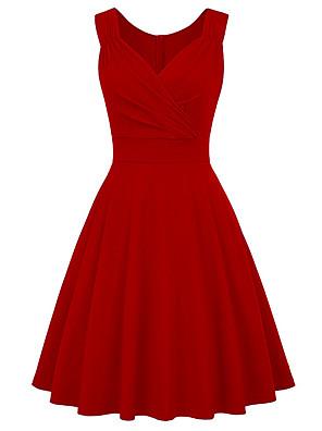 cheap Cocktail Dresses-A-Line Elegant Minimalist Party Wear Cocktail Party Dress V Neck Sleeveless Tea Length Spandex with Pleats 2020