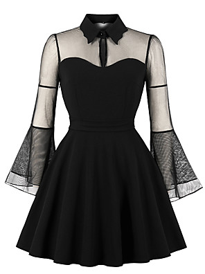 cheap Cocktail Dresses-A-Line Minimalist Vintage Party Wear Cocktail Party Dress Illusion Neck Long Sleeve Short / Mini Spandex with Ruffles 2020