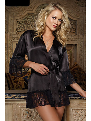 cheap Sexy Bodies-Women's Lace Mesh Robes Suits Nightwear Patchwork Solid Colored Embroidered Black One-Size
