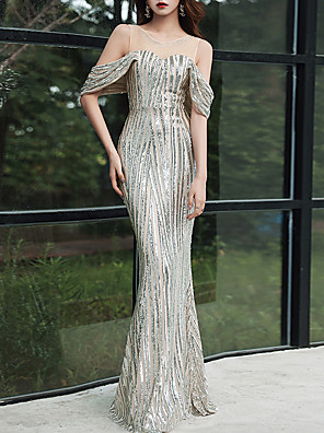 cheap Evening Dresses-Mermaid / Trumpet Sexy Sparkle Party Wear Formal Evening Dress Illusion Neck Short Sleeve Floor Length Tulle Sequined with Crystals Sequin 2020