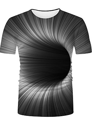 cheap Men's Tops-Men's T shirt 3D Print Graphic Optical Illusion 3D Print Print Short Sleeve Casual Tops Basic Fashion Cool Black / White