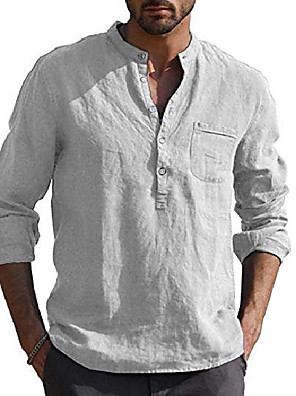 cheap Men's Tees-mens casual v neck  long sleeve hippie shirts banded collar henley tops with buttons grey xxl