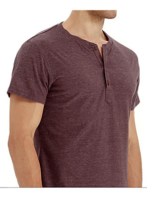 cheap Men's Tees-mens shirts short sleeve casual loose fit henley shirts  t-shirt black m