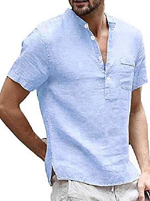 cheap Men's Tees-mens short sleeve linen henley shirt summer casual banded collar beach t shirts lightweight plain tops sky blue