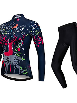 cheap Women's Cycling Jersey & Shorts / Pants Sets-21Grams Women's Long Sleeve Cycling Jersey with Tights Winter Fleece Polyester Black Bike Clothing Suit Fleece Lining 3D Pad Warm Quick Dry Breathable Sports Graphic Mountain Bike MTB Road Bike