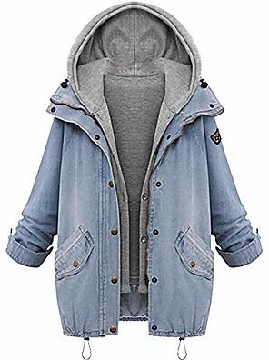 cheap Women's Hiking Jackets-hot! denim hooded coat,winter womens warm jacket plus size outwear gilet cardigan 2pcs set (l, blue)