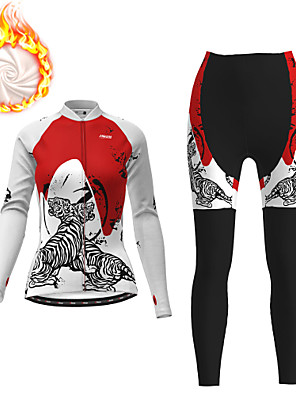 cheap Women's Cycling Jersey & Shorts / Pants Sets-21Grams Women's Long Sleeve Cycling Jersey with Tights Winter Fleece Polyester White Black Tiger Bike Clothing Suit Fleece Lining 3D Pad Warm Quick Dry Breathable Sports Graphic Mountain Bike MTB