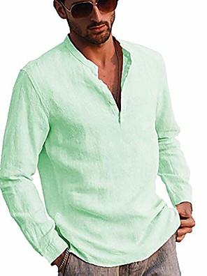 cheap Men's Tees-men's linen long sleeve henley shirt yoga tops casual fashion  t-shirt blouse (green, m)