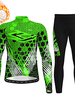 cheap Men's Cycling Jersey & Shorts / Pants Sets-21Grams Men's Long Sleeve Cycling Jersey with Tights Winter Fleece Polyester Black / Yellow Red Blue Bike Clothing Suit Fleece Lining 3D Pad Warm Quick Dry Breathable Sports Graphic Mountain Bike MTB