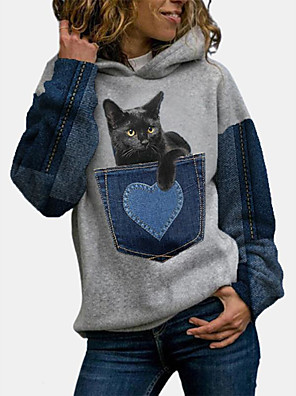 cheap Women's Tops-Women's Pullover Hoodie Sweatshirt Cat Graphic Color Block Daily Christmas Hoodies Sweatshirts  Blue Gray