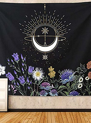 """cheap Landscape Tapestries-floral tapestry moon flowers tapestry wall hanging colorful plants wall tapestry vintage black and white tapestry for bedroom wall hanging for meditation(flower, 51.2"""" x 59.1""""-(130x150cm))"""