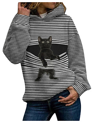 cheap Women's Tops-Women's Pullover Hoodie Sweatshirt Cat Graphic Christmas Daily Casual Christmas Hoodies Sweatshirts  Black Blue Green