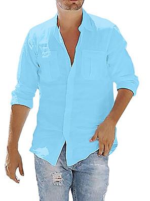cheap Men's Tees-Men's Shirt Solid Color Pocket Button Long Sleeve Street Tops Cotton Linen Modern Style Casual Fashion Light Blue Navy# White / Fall / Spring / Summer / Beach