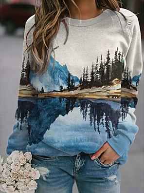 cheap Women's Tops-Women's Pullover Sweatshirt Graphic Daily Casual Hoodies Sweatshirts  Blue Light Blue