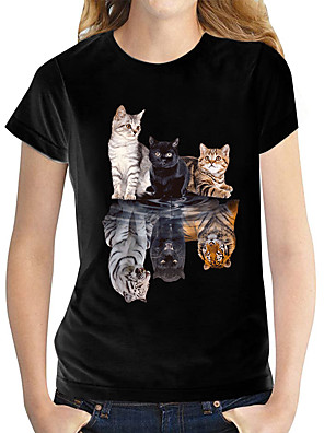 cheap Women's Tops-Women's T shirt Butterfly Graphic Prints Round Neck Tops 100% Cotton Basic Top Black and White Cat White