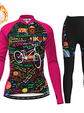 cheap Women's Cycling Jersey & Shorts / Pants Sets-21Grams Women's Long Sleeve Cycling Jersey with Tights Winter Fleece Polyester Black / Yellow Fuchsia Black Christmas Bike Clothing Suit Fleece Lining 3D Pad Warm Quick Dry Breathable Sports Graphic