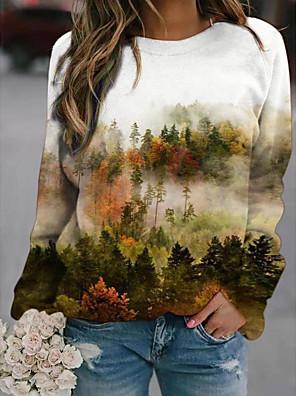 economico Maglie donna-Per donna Felpa pullover Pop art Paesaggi Quotidiano Essenziale Casuale Felpe con cappuccio Felpe Bianco