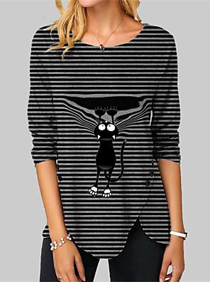 cheap Women's Tops-Women's T shirt Striped Cat Graphic Prints Long Sleeve Button Print Round Neck Tops Basic Basic Top Black