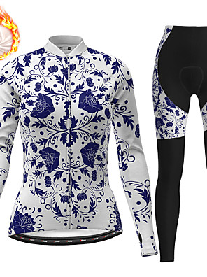 cheap Women's Cycling Jersey & Shorts / Pants Sets-21Grams Women's Long Sleeve Cycling Jersey with Tights Winter Fleece Polyester White Floral Botanical Christmas Bike Clothing Suit Fleece Lining 3D Pad Warm Quick Dry Breathable Sports Floral