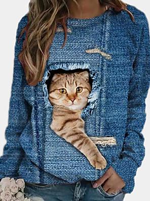 economico Maglie donna-Per donna Blusa Colorato a macchie Animali Manica lunga Con stampe Rotonda Top Moda città Top basic Blu