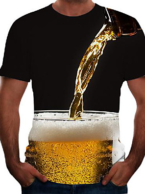 cheap Men's Tees-Men's Tee T shirt 3D Print Graphic 3D Beer Plus Size Short Sleeve Going out Tops Basic Comfortable Big and Tall Black Red Blushing Pink