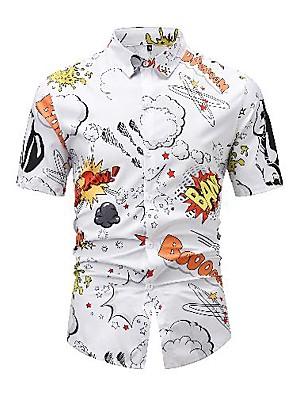 billige Herretopper-Herre Skjorte 3D-utskrift Grafisk 3D Bokstaver Trykt mønster Kortermet Avslappet Topper Tegneserie Nedtrykt Hvit