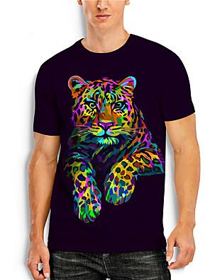 cheap Men's Tops-Men's T shirt 3D Print Graphic 3D Animal Print Short Sleeve Casual Tops Simple Classic Rainbow