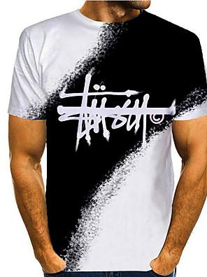 cheap Men's Tops-Men's T shirt 3D Print Graphic 3D Print Short Sleeve Casual Tops Simple Classic Black / White