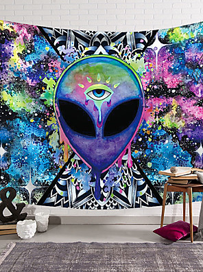 cheap Landscape Tapestries-Trippy Alien By Brizbazaar Tapestry Hippie Wall Carpet Room Trippy Tapestry Wall Hanging Watercolor Witchcraft Tapiz