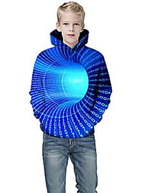cheap Boys' Clothing-Kids Boys' Active 3D Graphic Print Long Sleeve Hoodie & Sweatshirt Blue