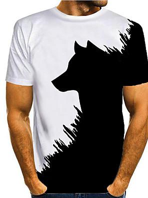 cheap Men's Tops-Men's T shirt 3D Print Graphic 3D Animal Print Short Sleeve Casual Tops Simple Classic Black / White